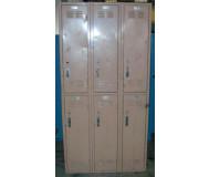 Tan Double Tier Worley Metal Lockers - front view