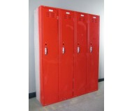Single Tier Red Lockers, side view, closed doors