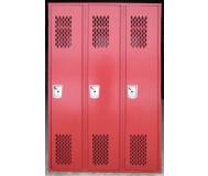 Red single door ventilated lockers front