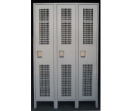 Single Tier Ventilated Lockers, Front View, Closed Doors