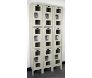 Three Tier Lockers with Clearview Doors, Side View